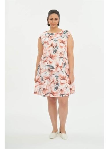 Luokk Nathan Yuvarlak Yaka Kolsuz Elbise Desenli Renkli